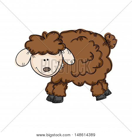 brown sheep smiling face animal drawn design  vector illustration