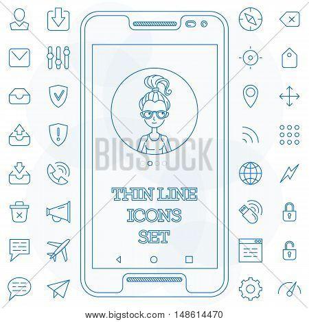 Thin line icons set basic simplicity vector illustration