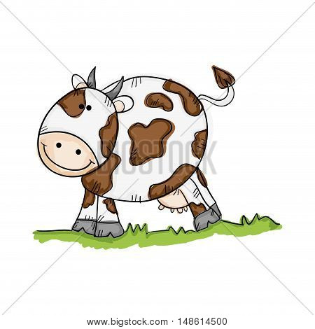 cow smiling face animal cartoon drawn design. vector illustration