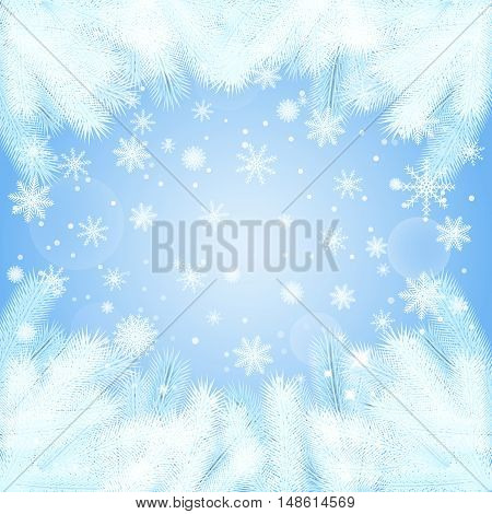 vector illustration. Christmas background with spruce branches in frost snowflakes. The new year greetings in a frame