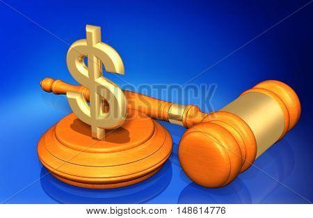 Dollar Sign Symbol  Legal Gavel Concept 3D Illustration