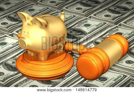 Piggy Bank Legal Gavel Concept 3D Illustration