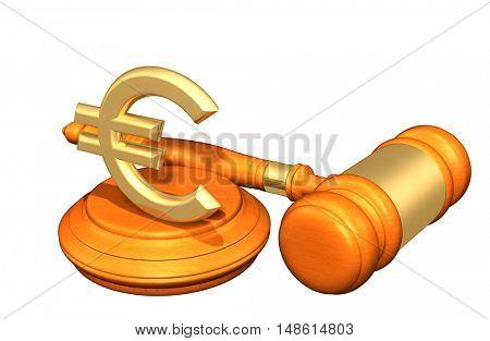 Euro Sign Symbol Legal Gavel Concept 3D Illustration