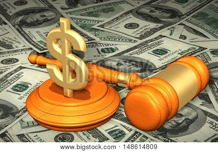 Dollar Sign Symbol  Legal Gavel Concept 3D Illustration