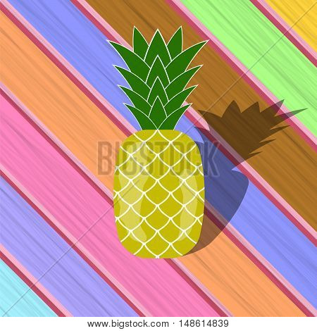 Fresh Ripe Pineapple  on Colorful Wood Diagonal Planks. Tropical Fruit Background.