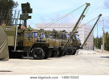 Line of military special-purpose machines including cranes and mobile repair workshops