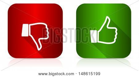Modern design flat vector like dislike icon. Eps 10 buttons.