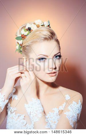 Pretty Sexy Blonde Bride Girl