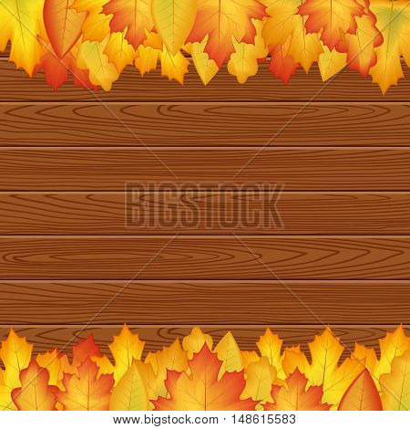 vector illustration. design autumn poster. Yellow orange leaves on a wooden texture frame for text.