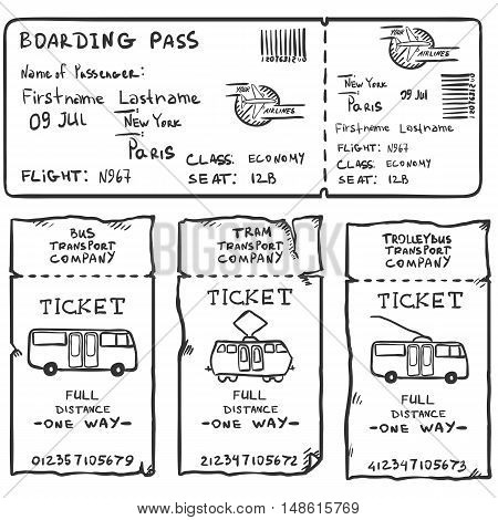 Vector Set Of Sketch Tickets For Plane, Bus, Tram And Trolley Bus