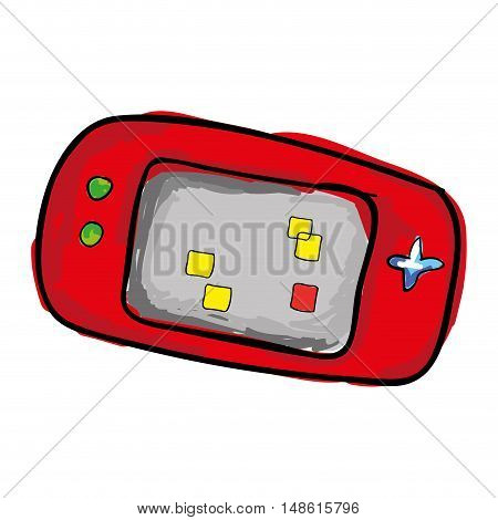 portable videogame with navigation buttons and screen. drawn design. vector illustration