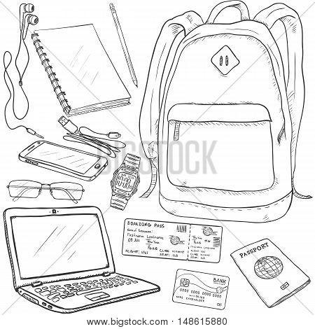 Vector Sketch Travel Set