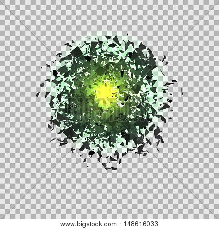 Green Explosion Cloud of Grey Pieces on Checkered Background. Sharp Particles Randomly Fly in the Air.