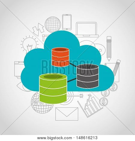 big data center flat icons vector illustration design