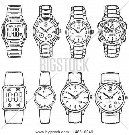 Vector Set Of Sketch Wrist Watches