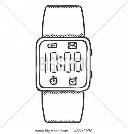 Vector Sketch Modern Digital Wrist Watch