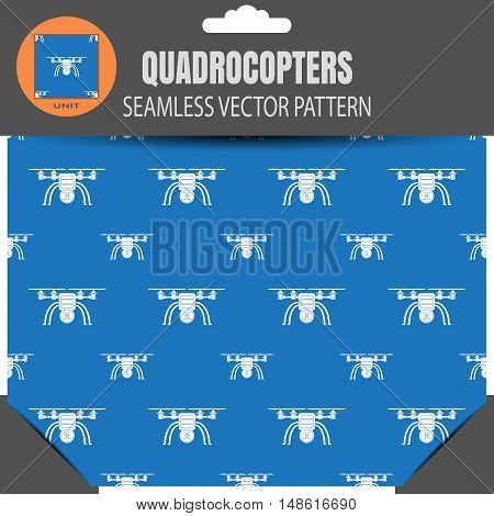 Package of vector seamless pattern of quadrocopters on the saturated blue background with pattern unit in the top.