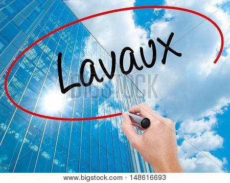 Man Hand Writing Lavaux  With Black Marker On Visual Screen