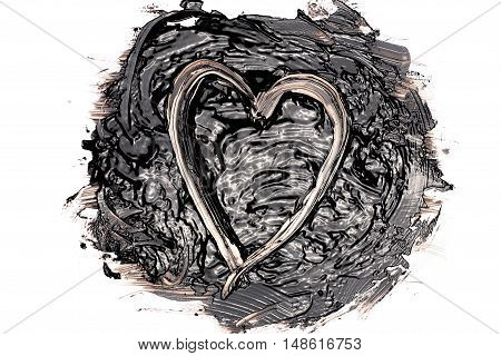Liquid bitumen blot with a heart shape in it. Isolated on white