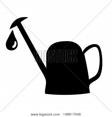 watering can with water drop falling silhouette. vector illustration