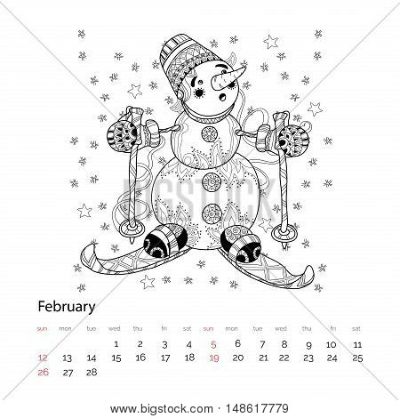Zen Art Doodle Hand Drawn Christmas Snowman Ski.