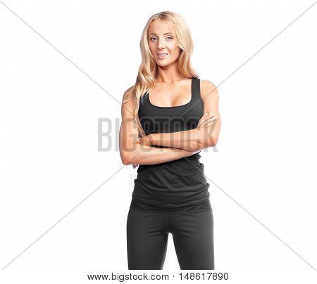 Blonde Sporty Woman In Black Sportswear Posing On White Background