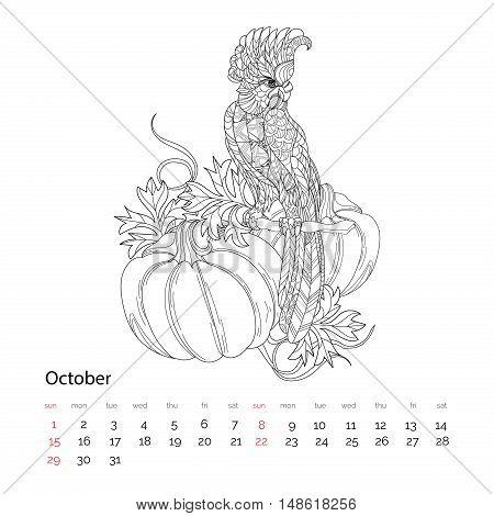 Zen Art Stylized Parrot.hand Drawn Vector