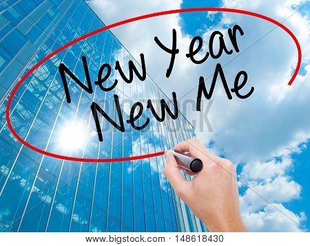 Man Hand Writing New Year New Me With Black Marker On Visual Screen