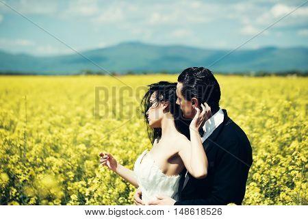 Wedding Couple In Field Yellow Flowers