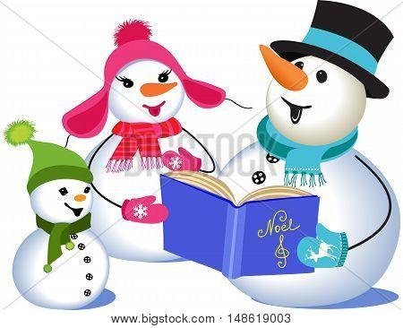Family of three snowmen singing Christmas carols