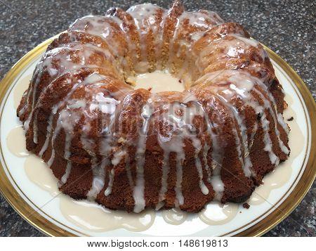 Yummy Summer Peach Bundt Cake on China Platter
