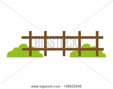brown fence wooden and green grass bush. vector illustration