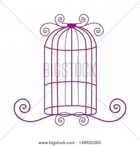 purple birdcage antique vintage element decoration. vector illustration