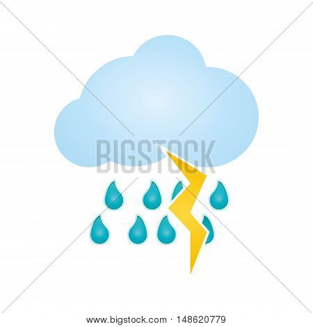 blue clouds with rain water drops and yellow thunder. meteorology weather. vector illustration
