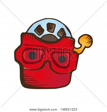 classic old vintage 3d viewer toy. drawn design. vector illustration