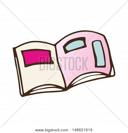 notebook with pink cover. drawn design. vector illustration