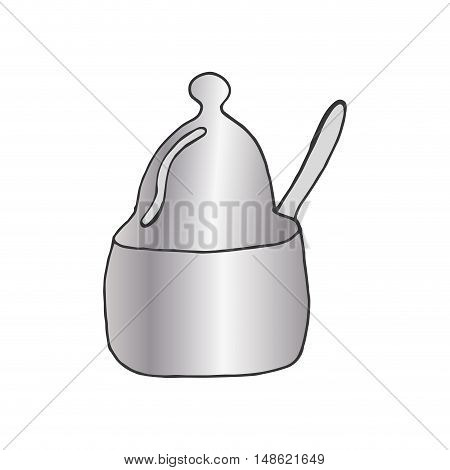 kitchen metal pot with spoon. drawn design. vector illustration