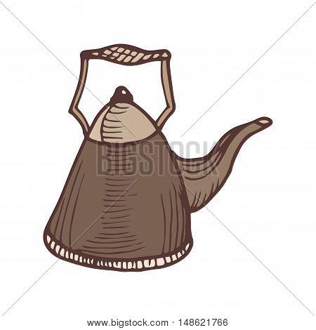 brown kettle pot kitchen utensil. drawn design. vector illustration