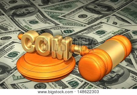 COM Legal Gavel Concept 3D Illustration