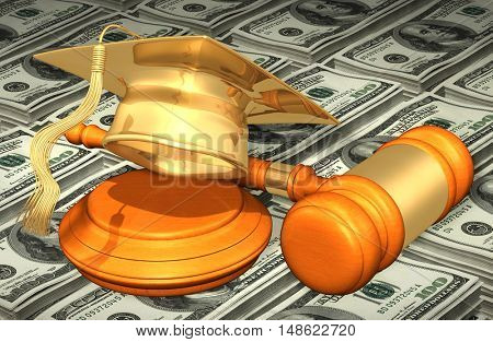 Graduation Cap Legal Gavel Concept 3D Illustration