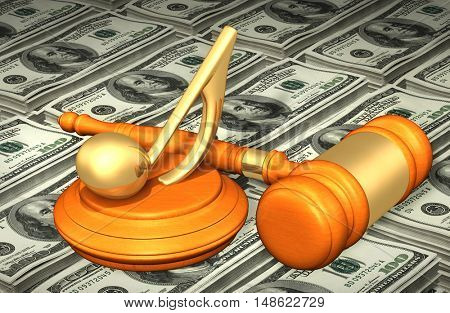 Music Note Legal Gavel Concept 3D Illustration