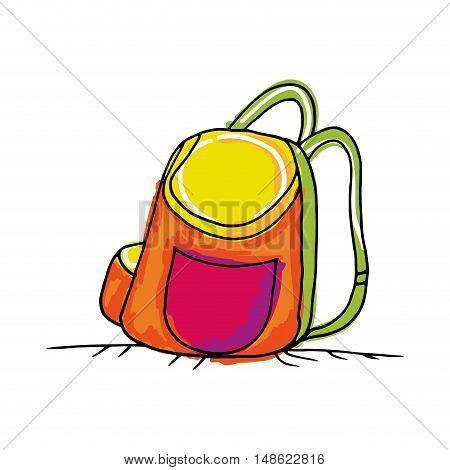 colorful backpack school bag. drawn design. vector illustration