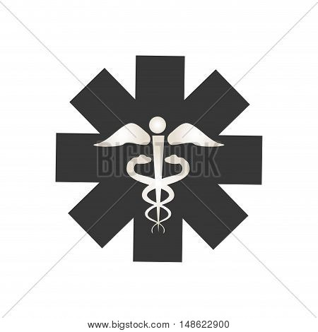 medical sign with caduceus symbol. emergency icon silhouette. vector illustration