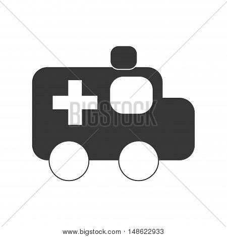 medical ambulance. emergency service vehicle silhouette. vector illustration
