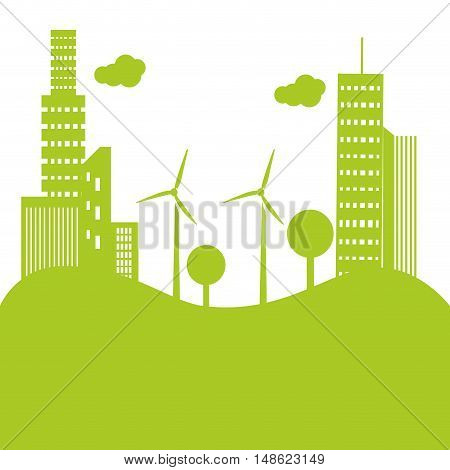green eco city with towers buildings and wind turbines. vector illustration