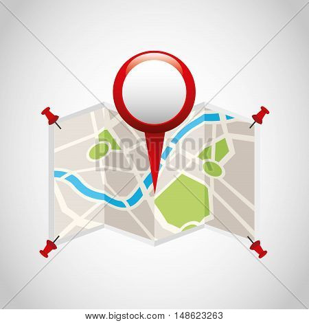 city map with gps icon vector illustration design