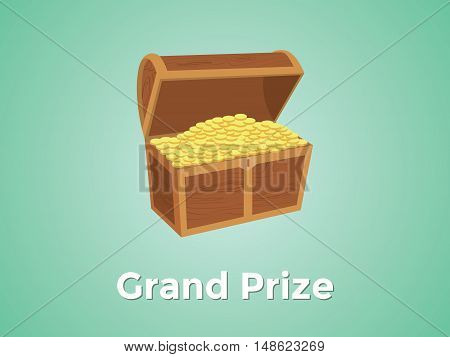 grand prize prizes with green background and gold box vector