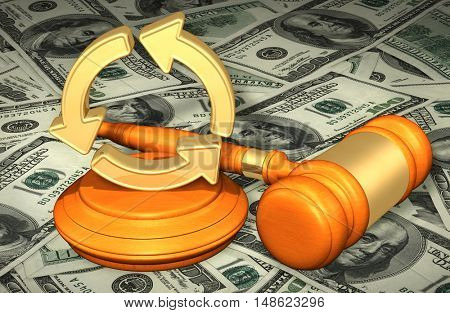 Recycle Symbol Legal Gavel Concept 3D Illustration
