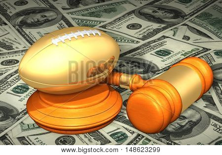 Football Legal Gavel Concept 3D Illustration
