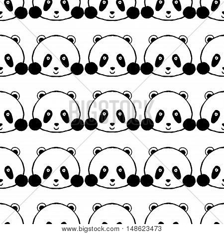 Panda seamless pattern. Hand drawn black white vector illustration. Sketch for decoration cards posters t-shirts.